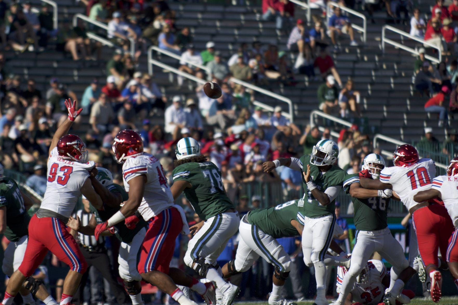 Sophomore quarterback Glen Cuiellette makes a play in the Green Wave's game against SMU.