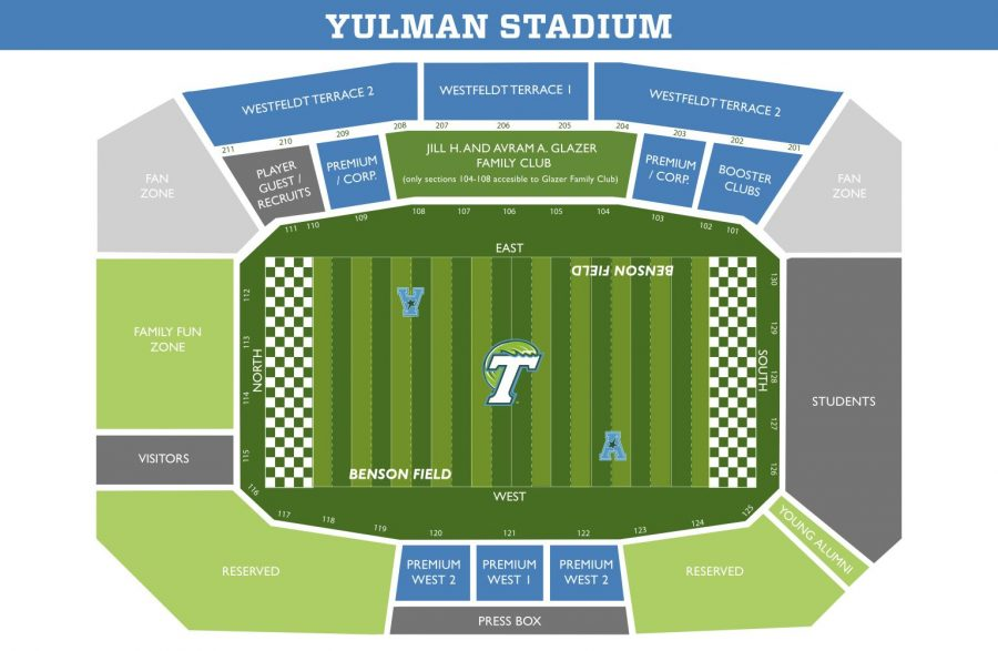 The+Tulane+student+section+will+be+located+on+the+south+end+of+Yulman+Stadium.+Students+can+pick+up+free+tickets+prior+to+the+game+with+their+Splash+Cards+at+multiple+locations+including+the+Wilson+Center.%C2%A0
