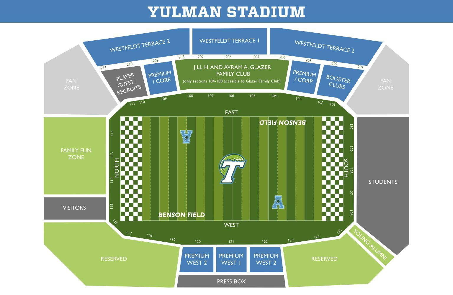 The Tulane student section will be located on the south end of Yulman Stadium. Students can pick up free tickets prior to the game with their Splash Cards at multiple locations including the Wilson Center.