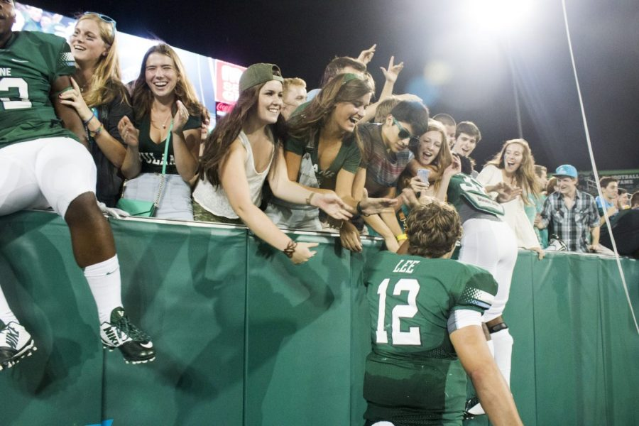 Redshirt+freshman+quarterback+celebrates+after+the+35-20+inaugural+victory+Sept.+13+in+Yulman+Stadium.+Lee+has+been+sidelined+by+a+shoulder+injury+for+last+two+games+and+returns+Friday+against+Cincinnati.%C2%A0