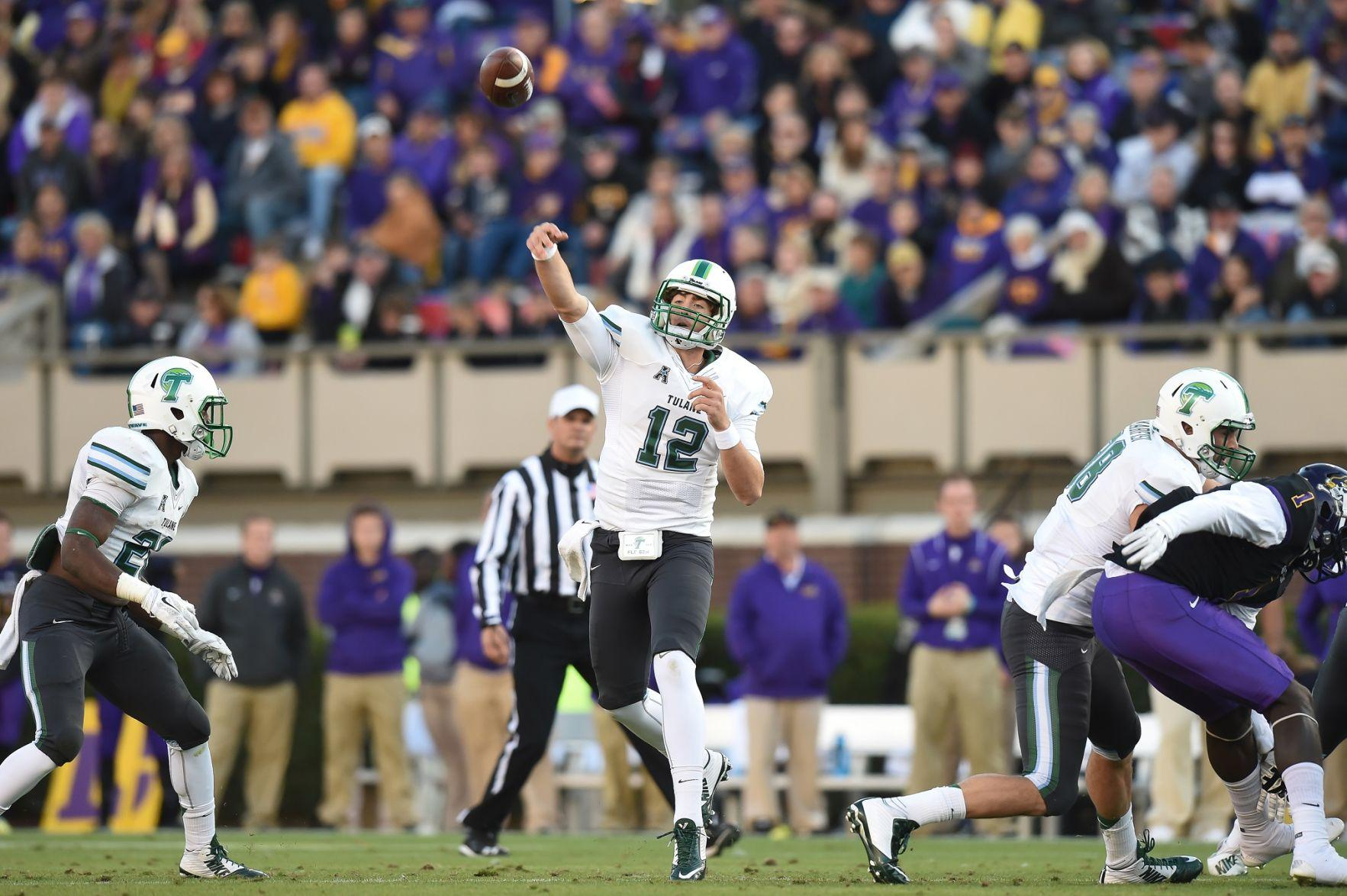 Tanner Lee throws the ball in a 34-6 loss at East Carolina Nov. 22 in Greenville, NC. Lee has thrown for 1,853 yards with a 55.8 percent completion rate along with 12 touchdowns and 14 interceptions this season.