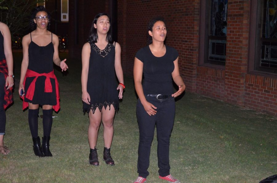 Members of the Vagina Monologues practice. The performance is one of the events that will be held during Sexual Assault Awareness Month.