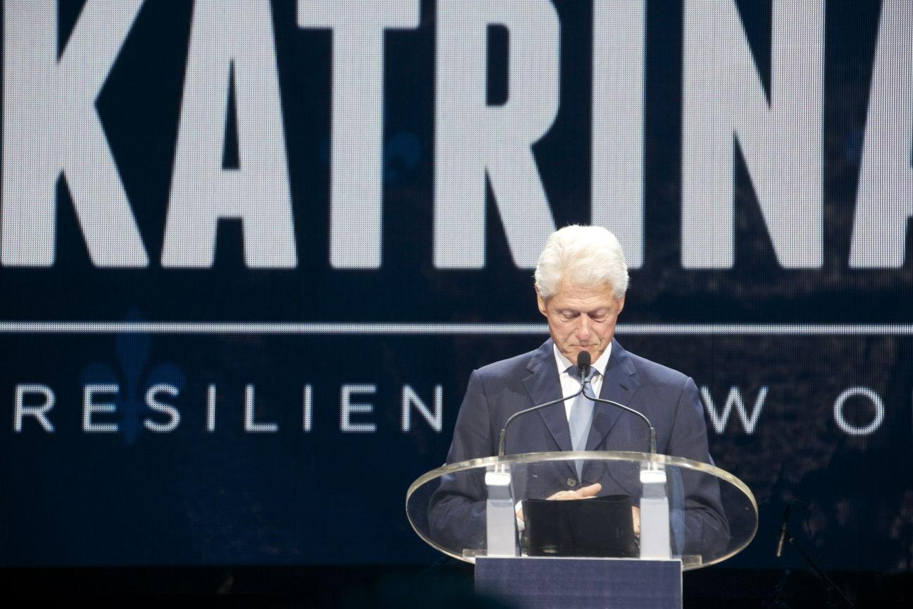 Former President Bill Clinton delivers a speech at