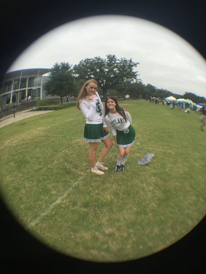 Tulane+students+sophomore+Hannah+Myers+and+sophomore+Lauren+Breitstone+dress+in+Tulane+cheerleading+skirts+for+Houston+tailgate+Oct.+17.%C2%A0