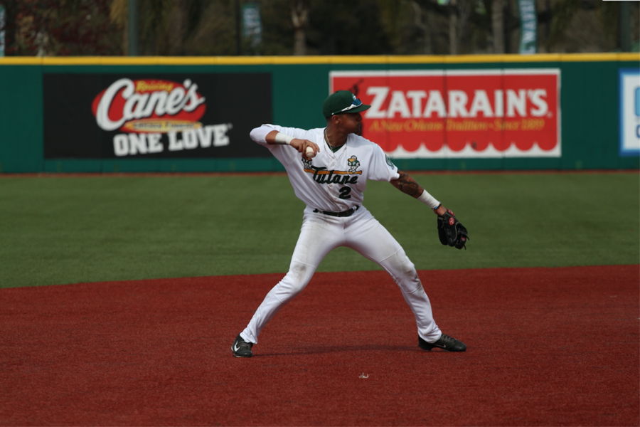 Junior infielder Stephen Alemais attempts to turn a play in the 1-2 series against Gonzaga in the weekend series March 6-8 last season in Turchin Stadium.