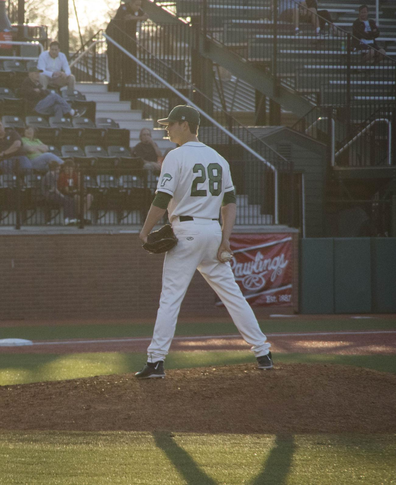 Alex Massey pitches in the Green Wave's 15-0 win over Pepperdine on March 5 at Turchin Stadium.