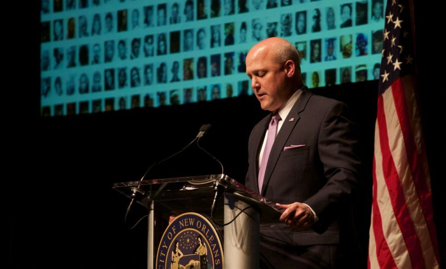 As+the+mayor+spoke%2C+a+slideshow+displayed+images+of+recent+New+Orleans+crime+victims.+There+have+been+1%2C003+murders+since+Landrieu+took+office+in+May+of+2010.%C2%A0