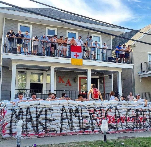 Kappa+Alpha+Fraternity+members+at+Tulane+University+constructed+a+wall+out+of+sandbags+that+read+%22Trump%22+on+their+front+porch+that+many+students+found+to+be+targeting+and+racially+motivated.+