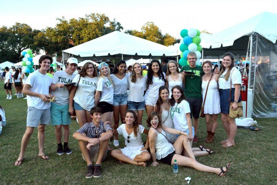 A+group+of+tailgating+Tulane+students+rock+their+%22white+out%22+game+day+attire+on+the+Lavin-Bernick+Center+Quad.