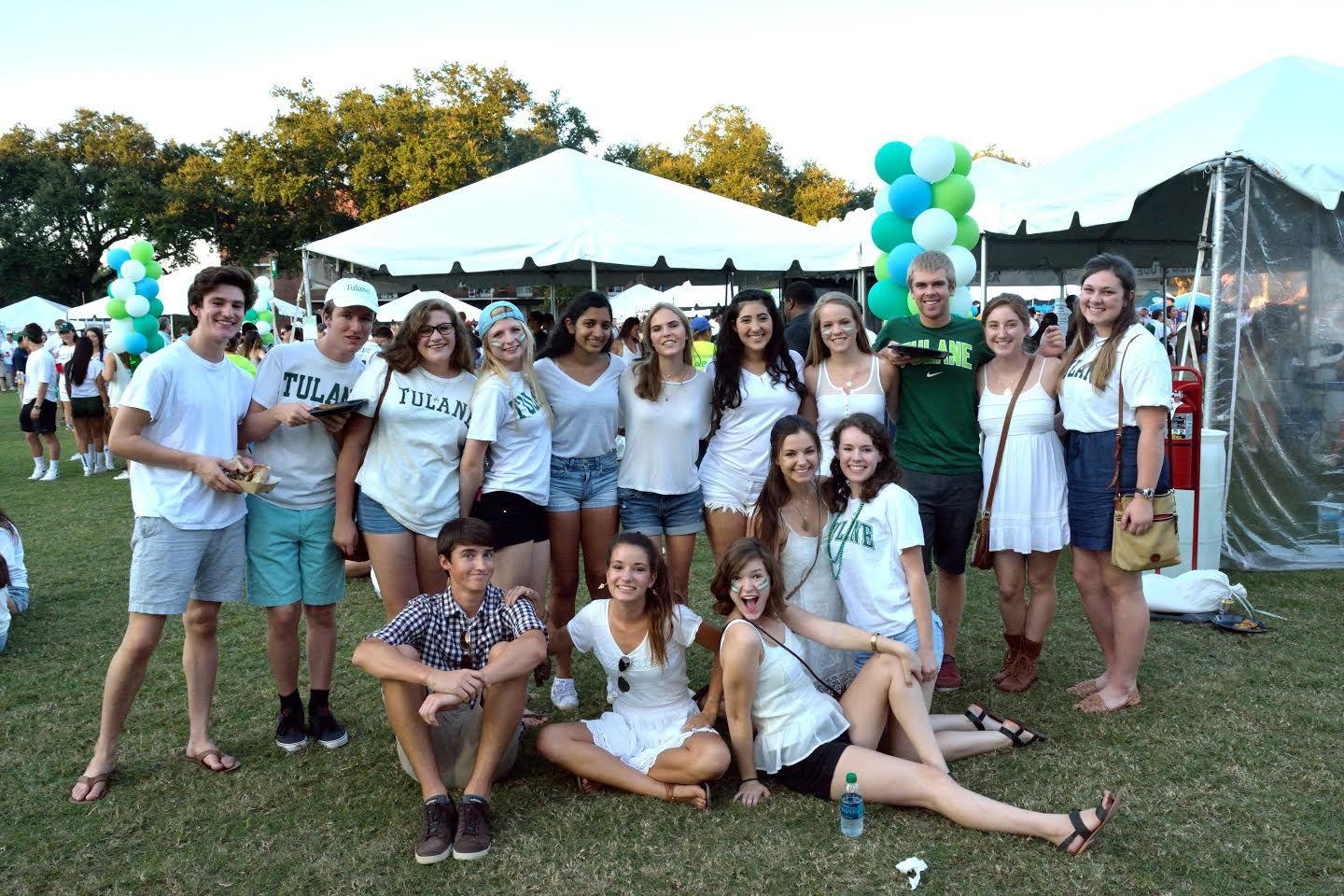 A group of tailgating Tulane students rock their
