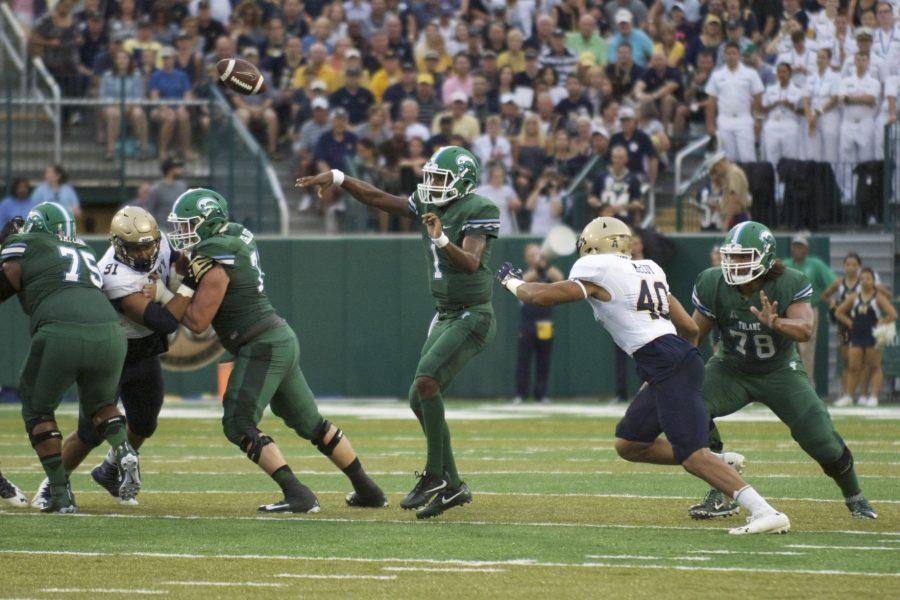 Quarterback Johnathan Brantley makes a long pass downfield. This was Brantley's first game as a starter for the Green Wave.