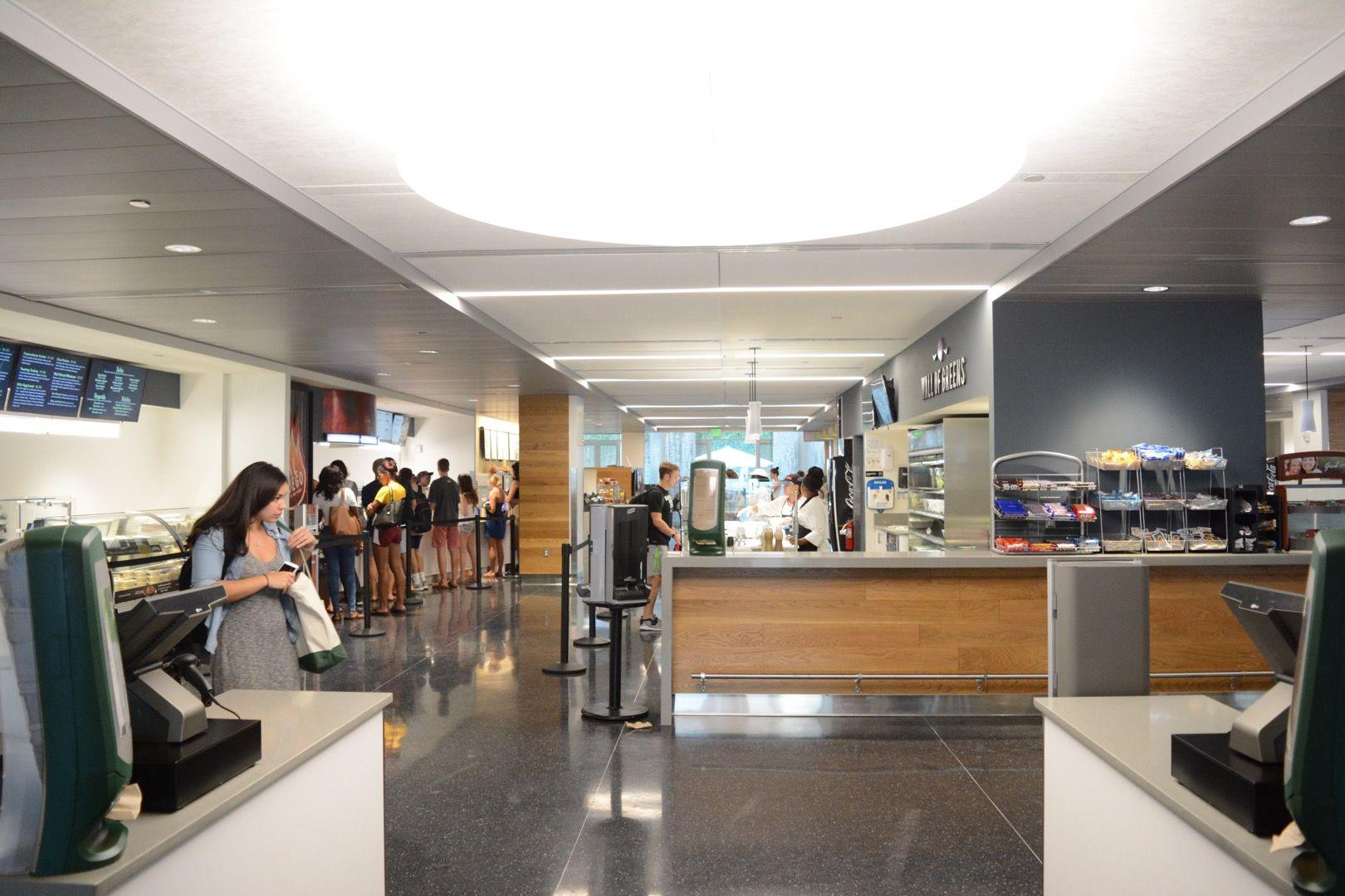 The new food court in the Lavin-Bernick Center for University Life features some options from the old restaurants and some healthy replacements.