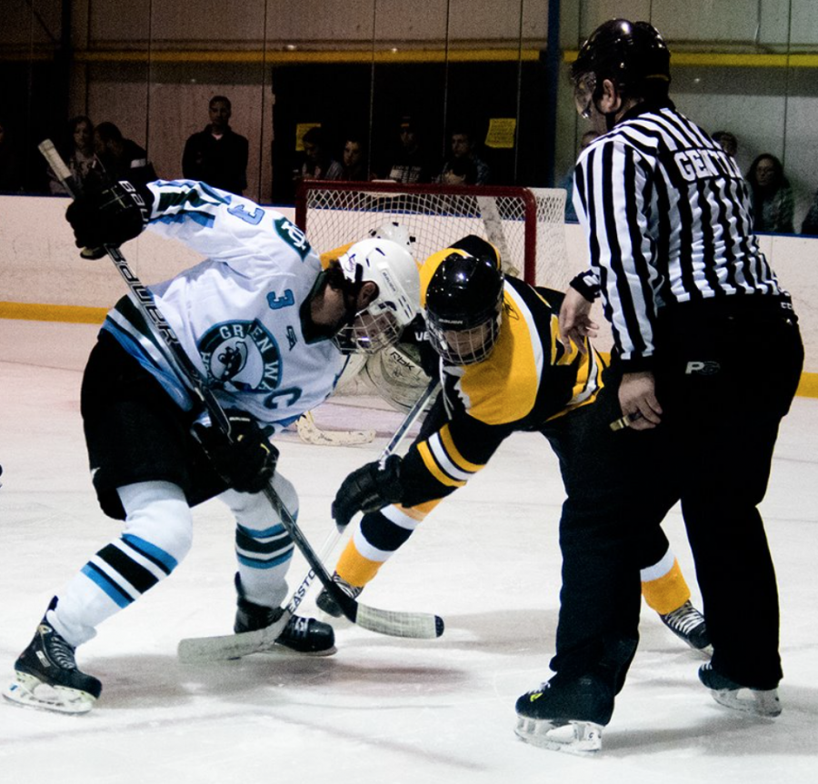Fifth-year forward Jonathon Sharp readies for a face-off in a game against Kennesaw State University. Tulane hockey participated in nine games last year and finished with a 4-5 record.