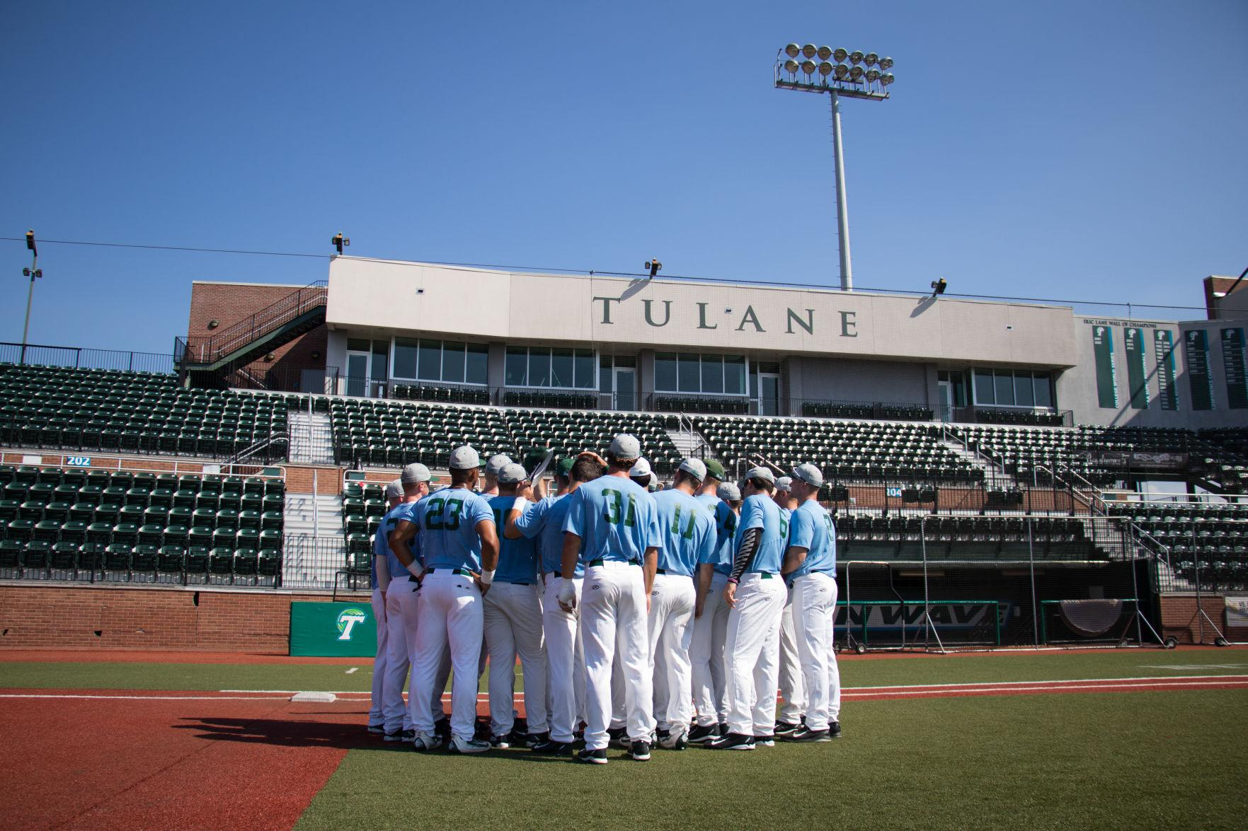 The team huddles during a fall ball practice in Turhcin Stadium. Baseball ended it's fall ball practices with alumni weekend. The team's spring season will begin on February 17 with a home game against Army.