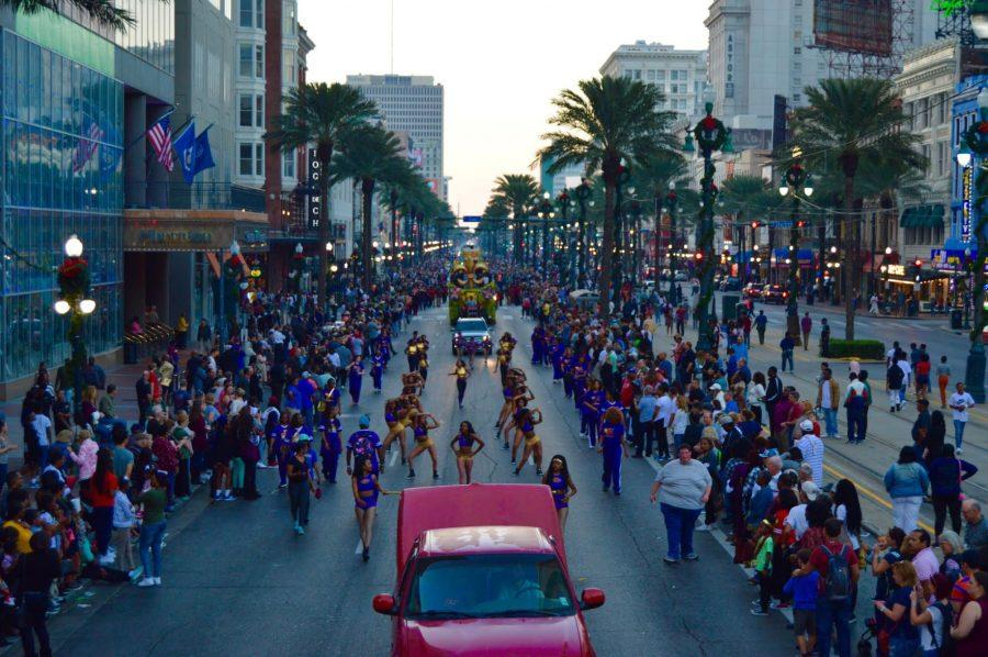 Performers take to the streets at the Bayou Classic Thanksgiving Day Parade on Canal St.