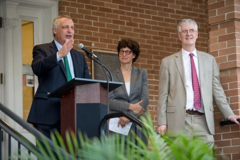 Tulane faculty members and affiliates speak at the opening of the Center for Academic Equity on Feb. 13 outside Robert C. Cudd Hall.