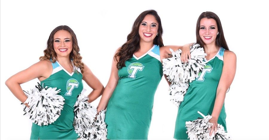 Tulane+Shockwave+co-captains+Eleyna+Langley%2C+Olivia+Bancroft+and+Lauren+Hymel+not+only+lead+the+dancers%2C+but+also+help+coordinate+dances.+Catch+Shockwave+perform+the+team%27s+original+dances+during+Tulane+basketball+games.