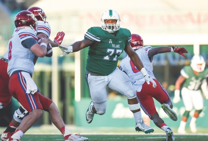 Former defensive tackle Tanzel Smart rushes SMU quarterback Ben Hicks during Tulane's 35-31homecoming game loss on Oct. 29. Smart, a four-year veteran of Green Wave football, played in the 2017 Reese's Senior Bowl and will enter the NFL draft this year. He is predicted to go in the fourth round.