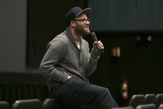 Seth Rogen speaks to HFC U winners and other guests at the University of Vermont last year.