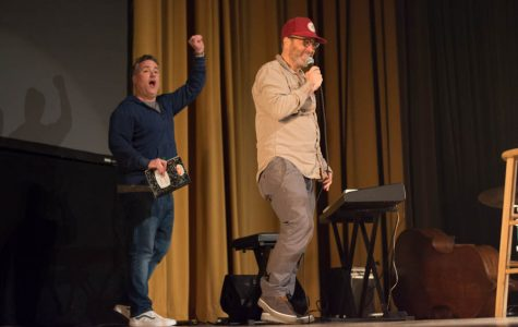 Larry Murphy (left) and H Jon Benjamin (right) performed at McAlister Auditorium Wednesday March 22.