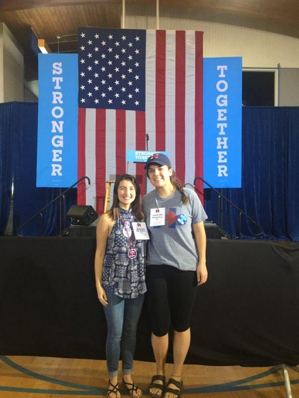 Freshman+Lucy+Murray+and+Junior+Jillian+Singer+volunteer+for+Hillary+Clinton+in+Pensacola%2C+Florida.