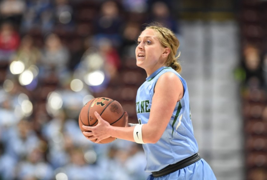 Senior guard Leslie Vorpahl examines the court during Tulane's Staurday matchup against University of Central Florida on March 4. Vorpahl will graduate this year as the second player in program history to reach 1,000 points and 500 assists.