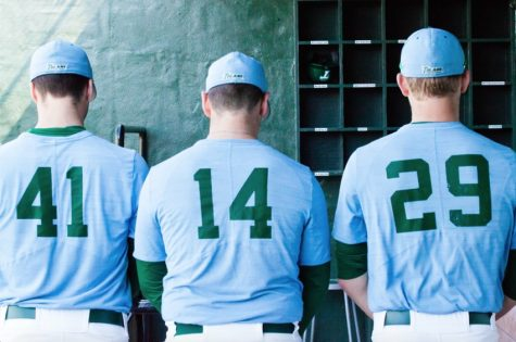 Redshirt senior Christian Colletti, 41; redshirt junior J.P. France, 14 and freshman Chase Solesky, 29 are three of 17 players on the roster listed as pitchers for the Green Wave.