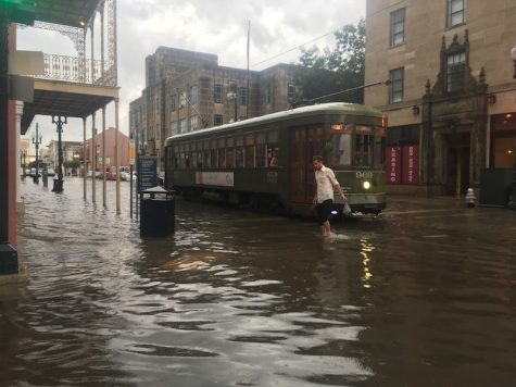 Flooding in the Central Business District and Mid-City left 16 drainage pumps out of service and forced pedestrians to wade through several feet of water as regular traffic was disrupted.