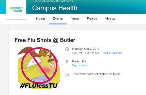 Tulane Health Center's Notorious F.L.U. character