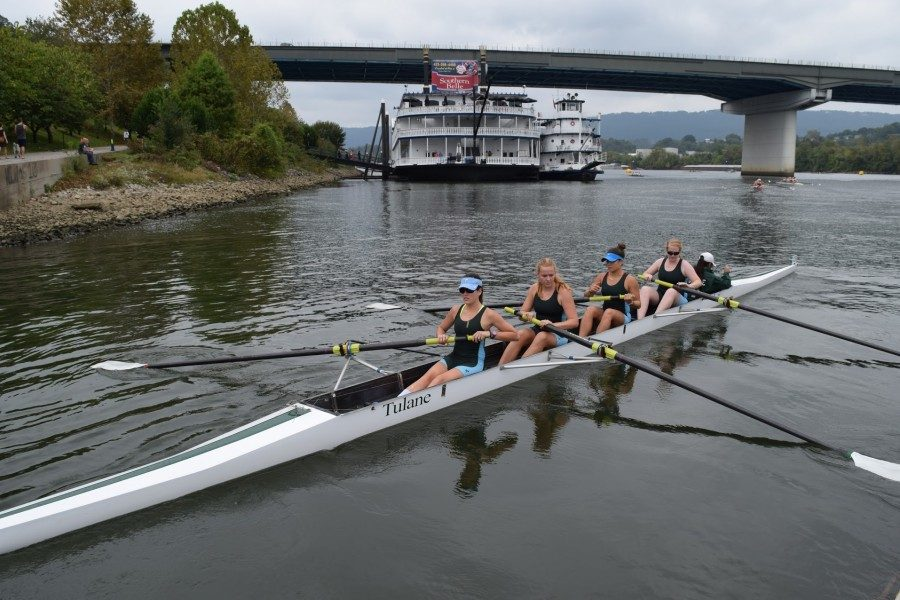 The Women's Collegiate 4+ rows at the Chattanooga Head Race last weekend. The team came in 10th.