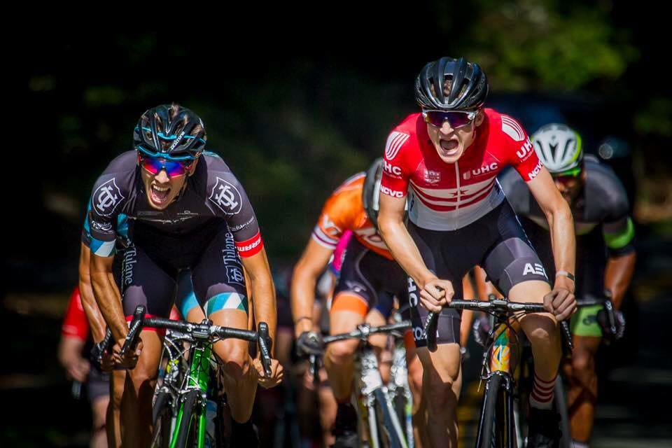 Tulane cyclist and team president Grayson Rosenfeld goes head to head with a fellow cyclist in an SCCCC race last season.