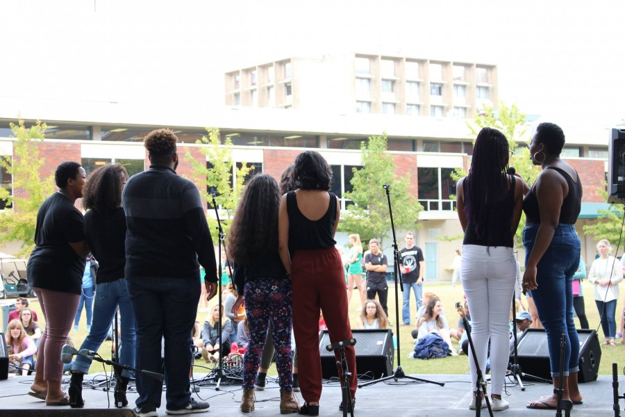 POCappella performs at the Celebrate Mental Health Festival. The event also featured a number of other musical performances.