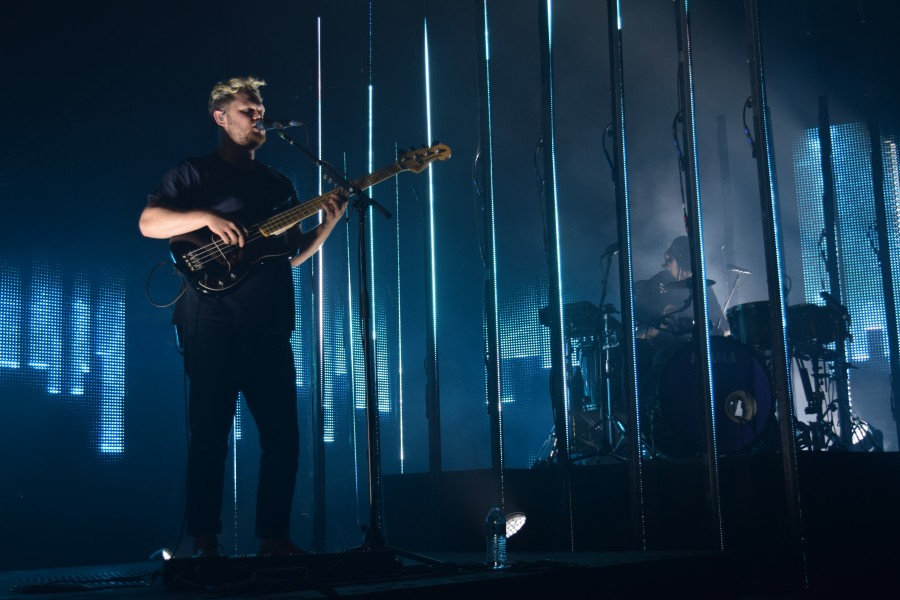 British band alt-J performs hits from all three of their albums at the Orpheum Theater. The trio stayed within their prison-like stage sets, separated by bars.
