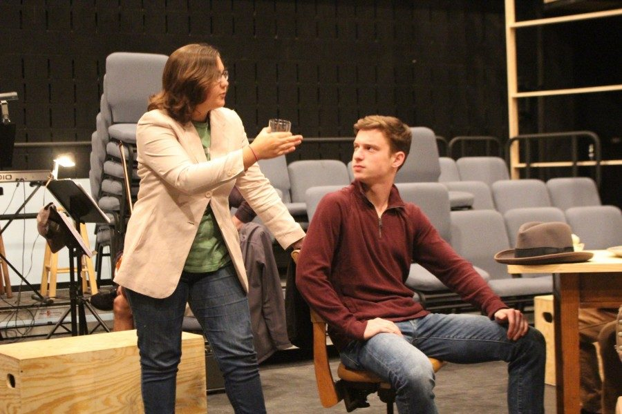 Students+rehearse+for+their+production+of+the+%22Resistable+Rise+of+Arturo+Ui.%22+The+show+will+take+place+on+Tuesday%2C+Nov.+14.
