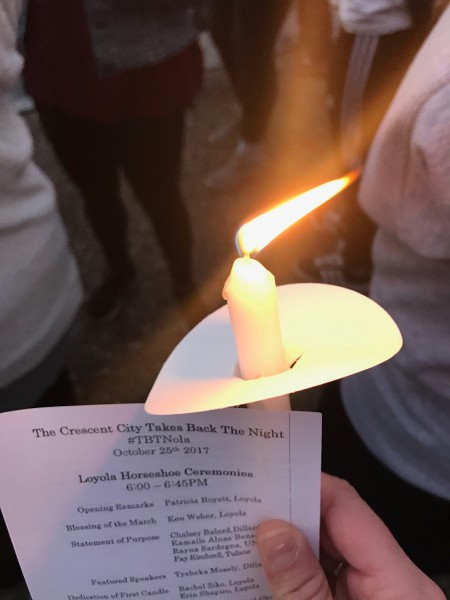 The march on Loyola University New Orleans' campus was illuminated with candlelight in support of victims of sexual assault.