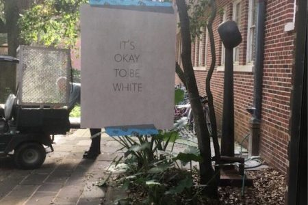 """It's okay to be white"" signs stir controversy on campus, around country"
