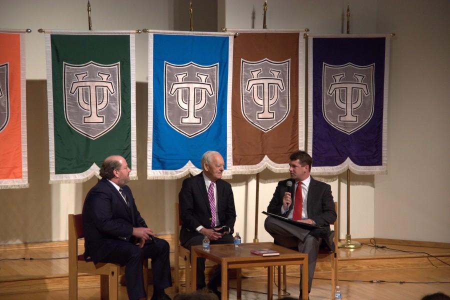 Schieffer and Scwartz sat down to talk news at Rogers Memorial Chapel.