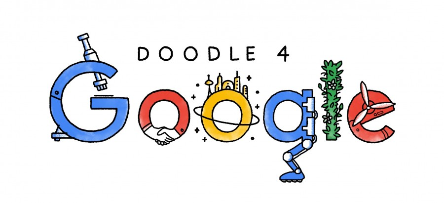 Doodle4Google is a competition that allows K-12 students to submit their own drawings to Google. The prompt asked students to think about what the future will look like.