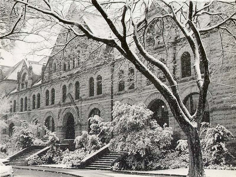 Gibson+Hall+covered+in+snow+in+an+archived+1963+photograph.