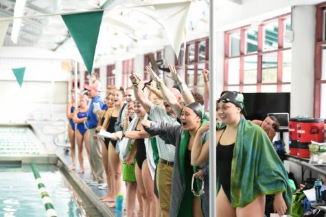 Tulane's swimming and diving team members cheer each other on at a recent meet. The women's team will compete  at the American Athletic Conference Championship, beginning Feb. 14 at Southern Methodist University in Dallas.