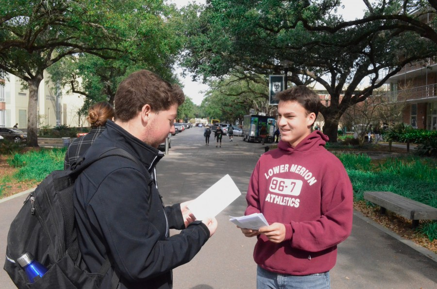 Nick Barnes-Batista, a student in support of the Palestinian cause, engages in dialogue with a fellow student. Barnes-Batista is a proponent of discourse and diversity of ideas.