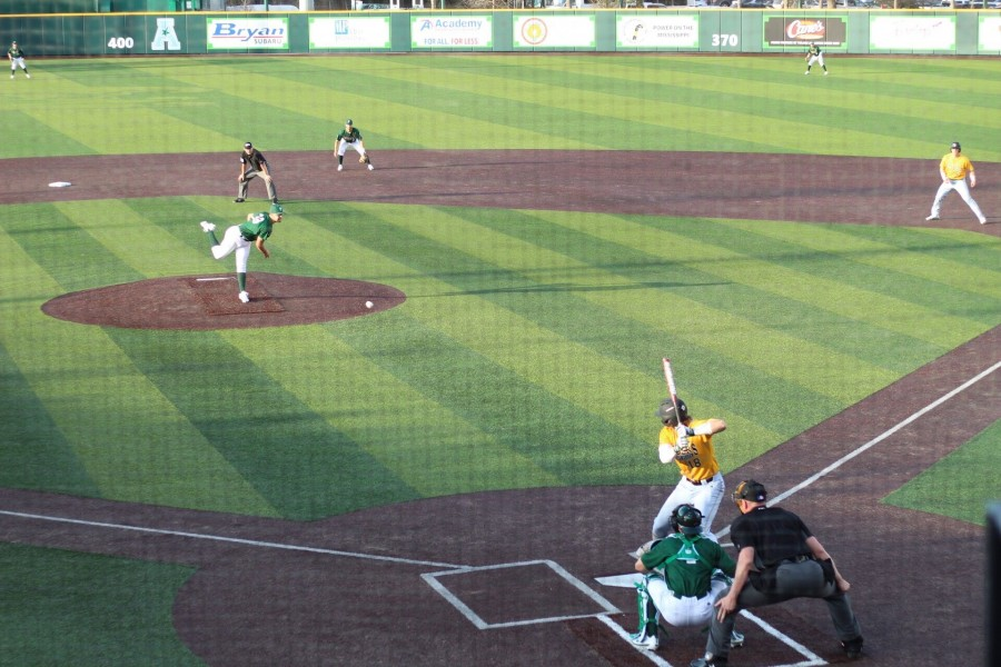 Pitcher Ben White strikes out two players during Saturday's matchup. White pitched four innings on Feb. 17.