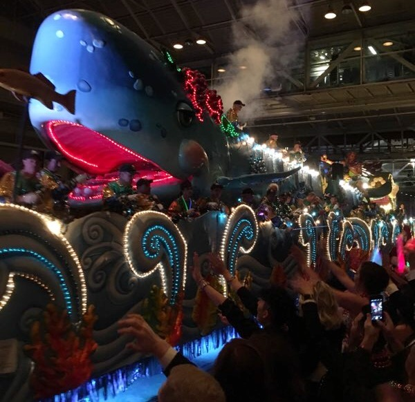 To end the parade, floats in the Krewe of Bacchus enter the Ball, which takes place in the New Orleans Morial Convention Center the Sunday prior to Mardi Gras day.