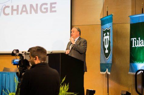 President Mike Fitts makes opening remarks at the town hall last Wednesday night.