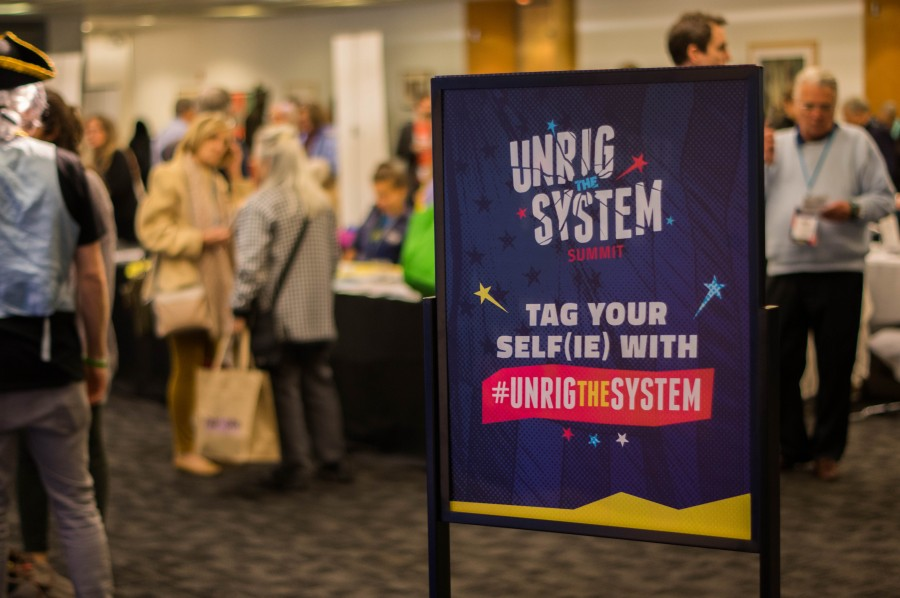 Unrig the System Summit attendees were invited to take a selfie and promote their attendance at the event, which was created by Represent.us.