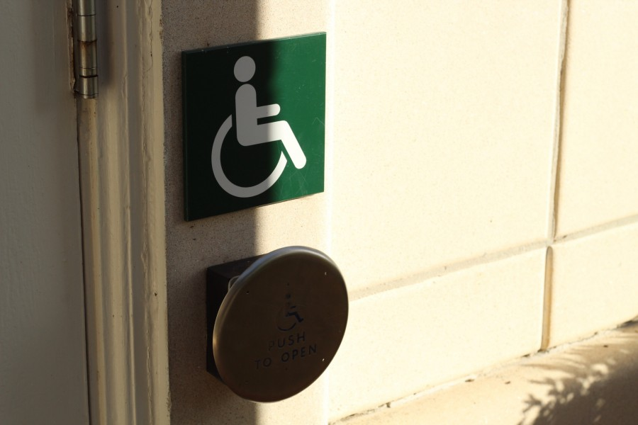One of many door-opening buttons that provide students with physical disabilities access to buildings across campus.