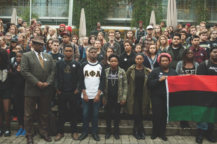 Members of the Tulane community stood on the steps outside the Lavin-Bernick Center at the Call for Unity rally in 2015.