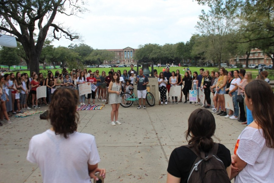 Students gather in front of McAlister Auditorium for a vigil and protest. The event was two days after the shooting and was organized via Facebook.