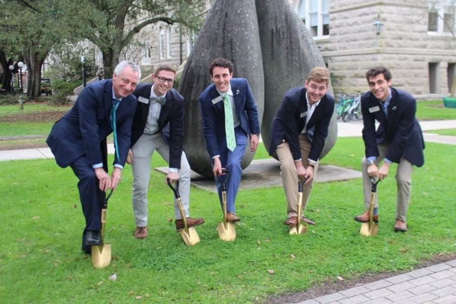 Senior Vice President for Academic Affairs and Provost Professor of Mathematics Robin Forman and USG members break ground on the outdoor classroom project.