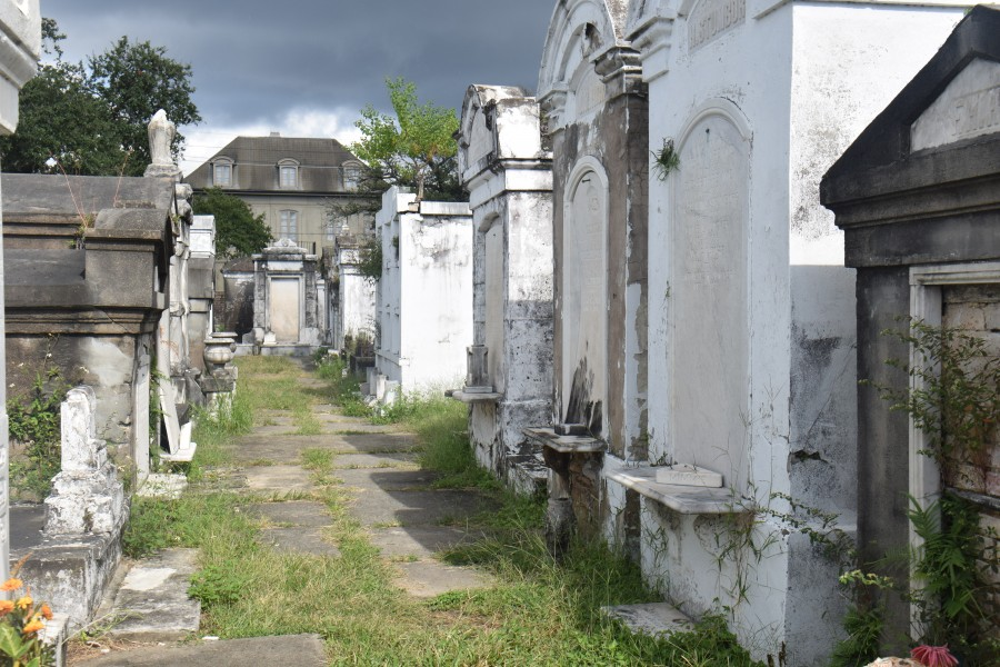 New Orleans cemeteries are characterized by their unique above-ground tombs, as seen here in Lafayette Cemetery No. 1. The tombs are often made of marble and intricately carved and decorated.